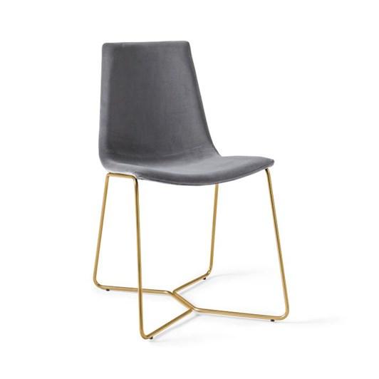 West Elm Modern Slope Dining Chair Slate Astor Velvet Antique Brass
