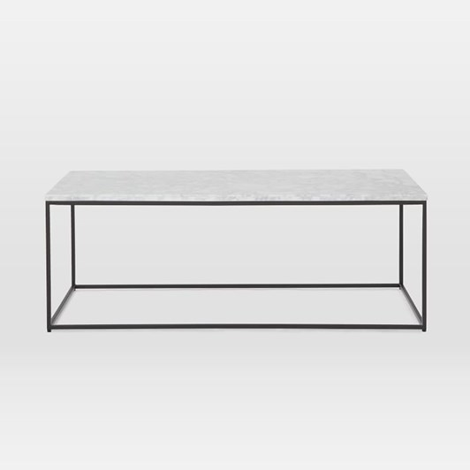 West Elm Streamline Rectangle Coffee Table Marble Antique Bronze
