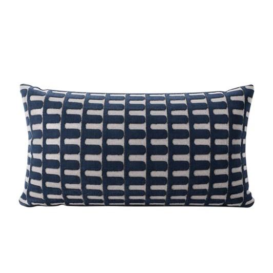 West Elm Cut Velvet Archways Cushion Cover 12x21 Inch Regal Blue