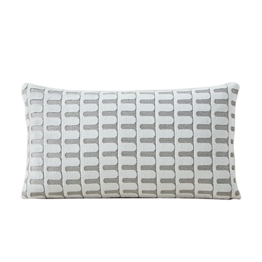 West Elm Cut Velvet Archways Cushion Cover 12x21 Inch Stone White
