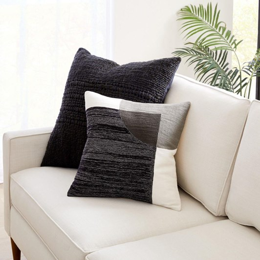 West Elm Crewel Overlapping Shapes Cushion Cover 18X18 Inch Black
