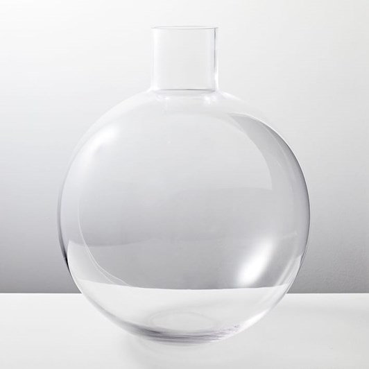 West Elm Pure Conservatory Glass Vase Large Clear 16.5 Inch