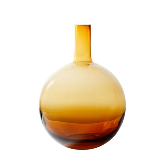 West Elm Pure Conservatory Glass Vase Medium Amber 14.75 Inch