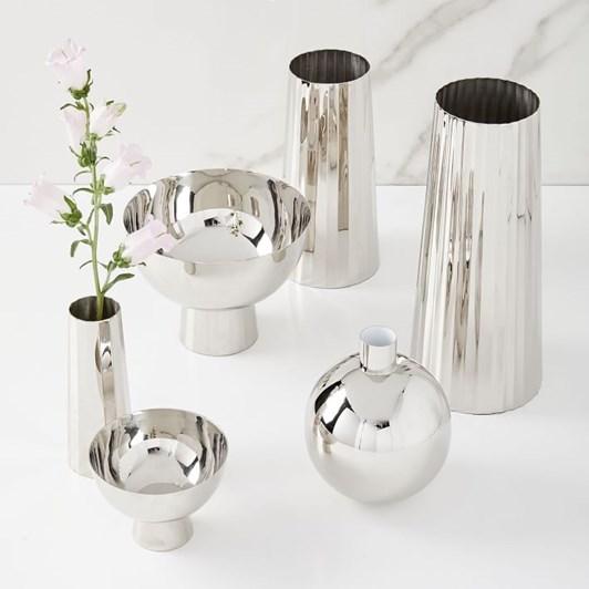 West Elm Pure Foundations Metal Vase Med Polished Nickel Faceted 9.5 Inch