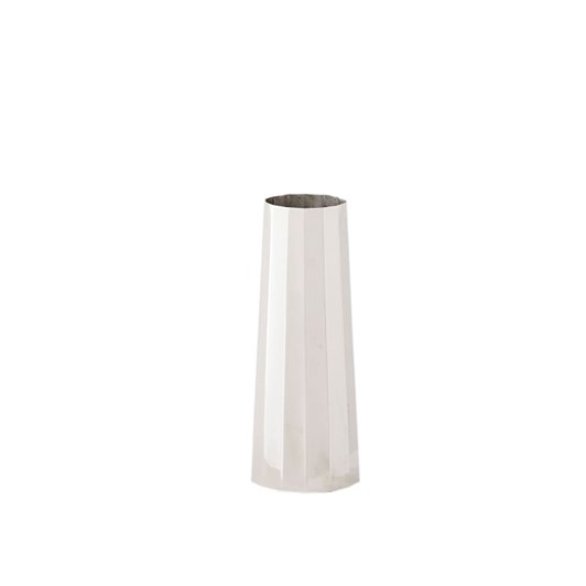 West Elm Pure Foundations Metal Vase Slim Base Polished Nickel 6 Inch