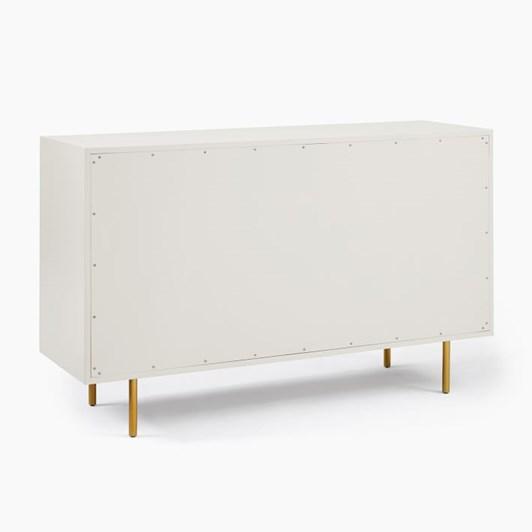 West Elm Quinn Lacquer 6-Drawer Dresser Haze, Antique Brass