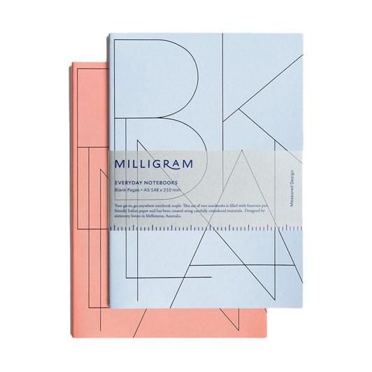 Milligram Basic Notebook - Set Of 2 - Blank - A6