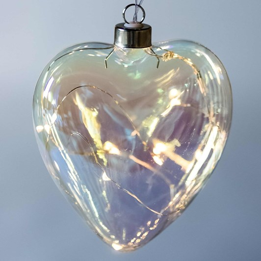 Stellar Haus Clear Pearl Heart Hanging Glass Light 12cm