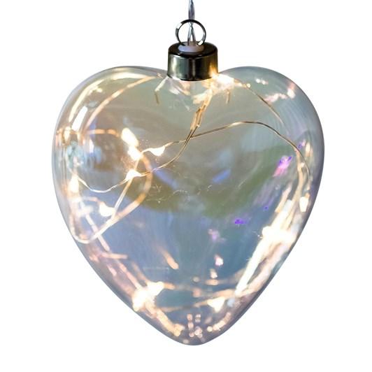 Stellar Haus Clear Pearl Heart Hanging Glass Light 12cm