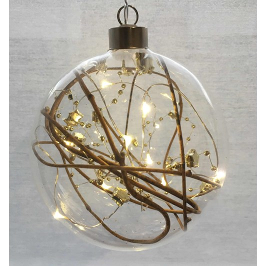 Stellar Haus Gold Bead Sphere Hanging Glass Light 12cm