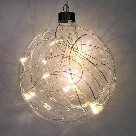Stellar Haus Silver Thread Sphere Hanging Glass Light 12cm