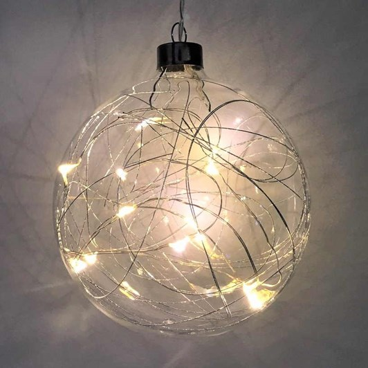 Stellar Haus Silver Thread Sphere Hanging Glass Light 12cm