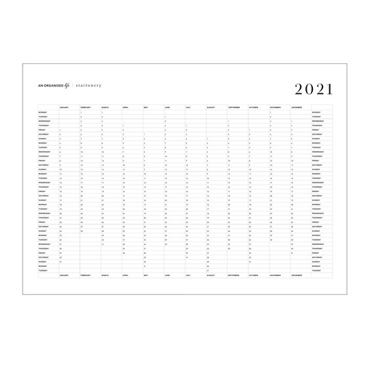 An Organised Life 2021 A2 Wall Calendar