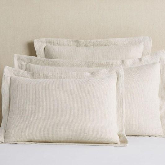 Pottery Barn Belgian Linen Waffle Pillowcase Flax