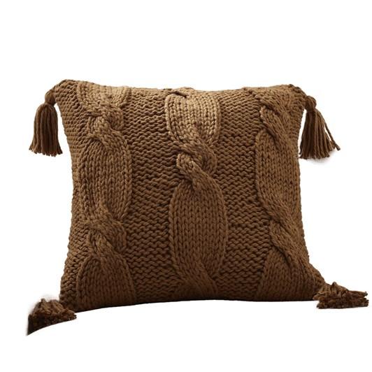 Pottery Barn Bluma Handknit Cushion Cover 22 Inches Tobacco