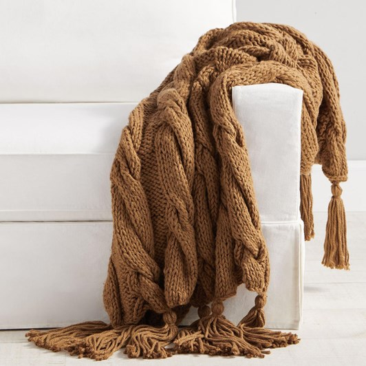 Pottery Barn Bluma Chunky Knit Tassel Throw 50x60 Inches Tobacco