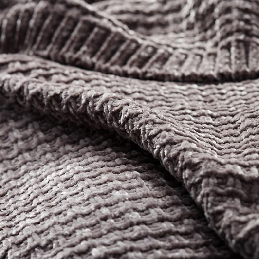 Pottery Barn OS Phinney Chenille Throw 55X80 Inches Fig