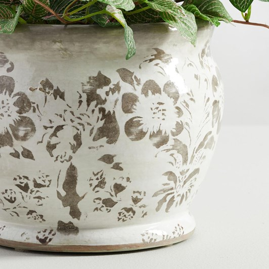 Pottery Barn Collette Floral Vase Grey Cachepot