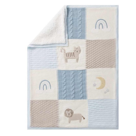 Pottery Barn Kids Heirloom Lion Baby Blanket Taupe