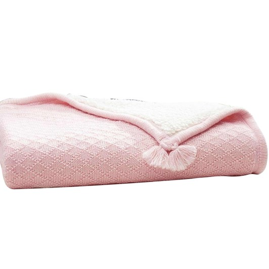 Pottery Barn Kids Luxe Knit Sherpa Stroller Blanket Light Pink