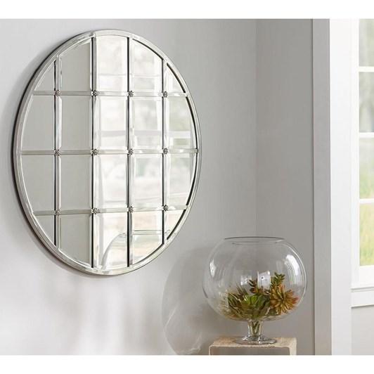 Pottery Barn Eagan Multipanel Round Mirror Silver