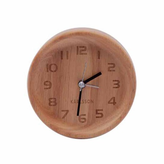 Karlsson Round Alarm Clock Light Oak