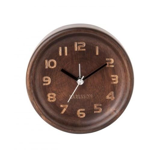 Karlsson Round Alarm Clock Dark Oak