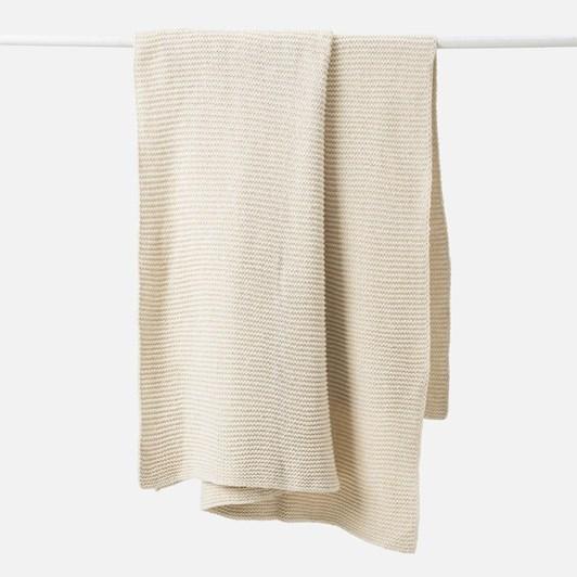 Citta Purl Knit Cotton Throw Cream 130x170cm