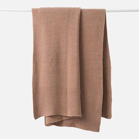 Citta Purl Knit Cotton Throw Quinoa 130x170cm