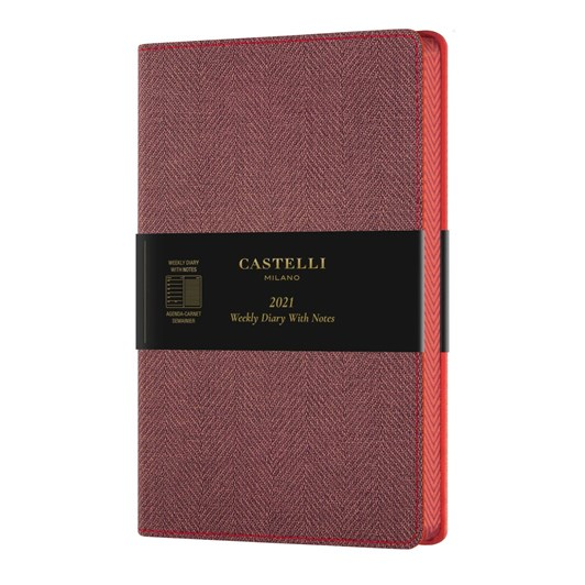 Castelli Harris 2021 A5 Diary Day To Page Maple Red