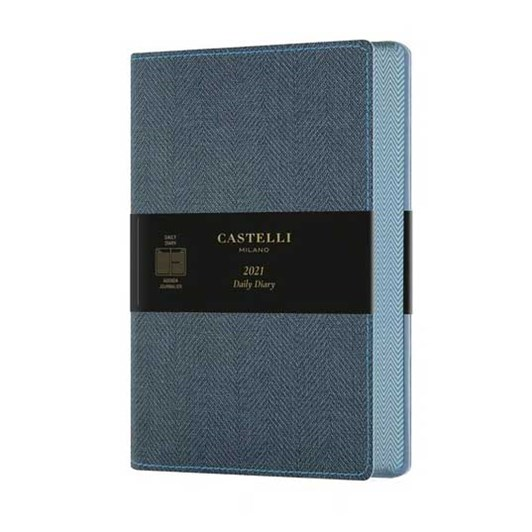 Castelli Harris 2021 A5 Diary Day To Page Slate Blue