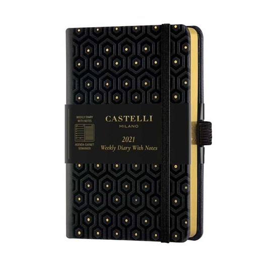 Castelli Copper & Gold 2021 Pocket Diary Week To View Honey Gold