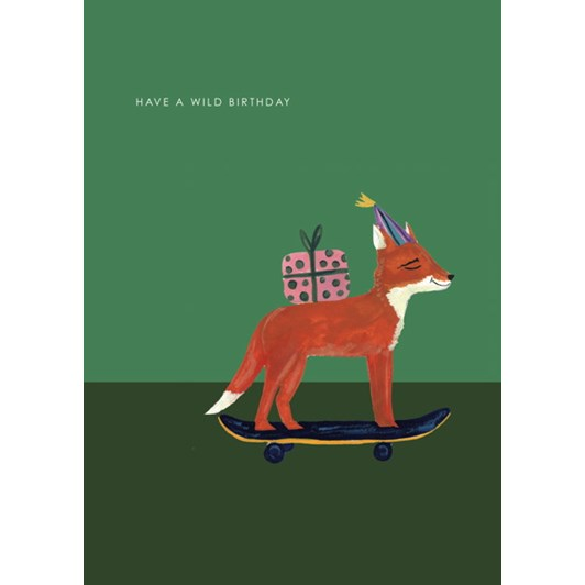 Vevoke Card Fox On Skateboard