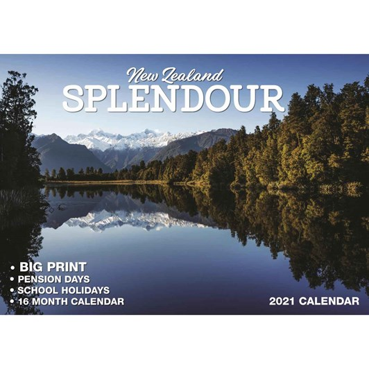 New Zealand Splendour Calendar 2021 Big Print