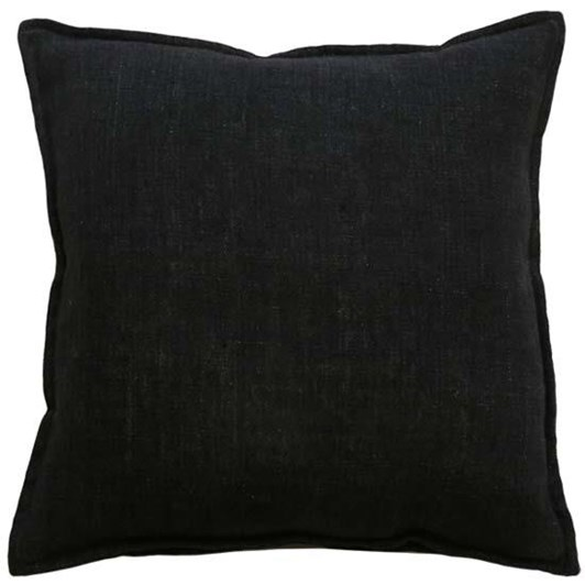 Mulberi Flaxmill Cushion With Feather Inner Black 50x50cm