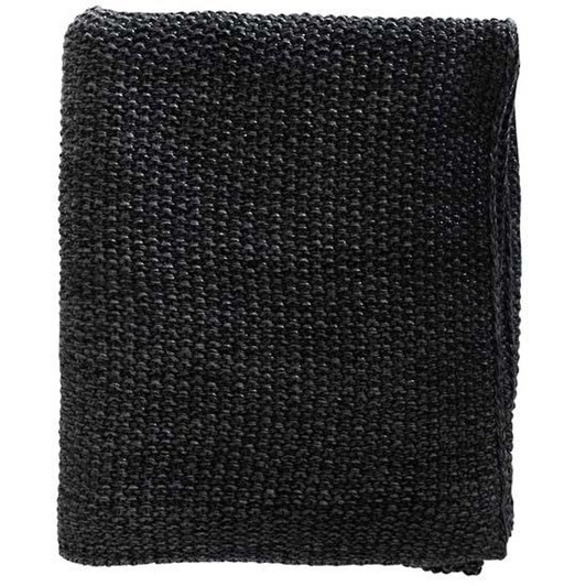 Mulberi Milford Moss Stitch Knitted Cotton Throw Black/Charcoal 125x150cm