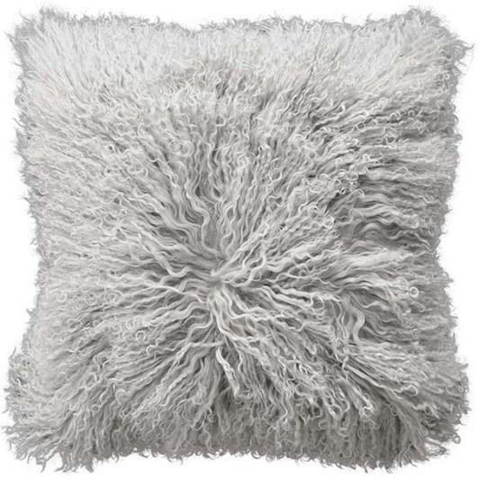 Mulberi Meru Tibetan Lamb Cushion With Feather Inner Silver Grey 40x40cm