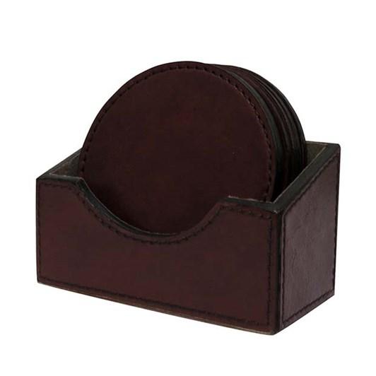 CC Interiors Dark Brown Leather Coaster Set Of 6