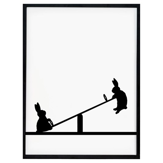 Ham Seesawing Rabbit Screen Print
