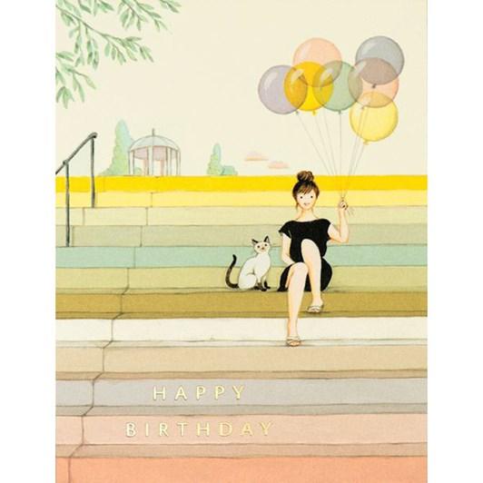 Vevoke Foil Card Girl On Stairs Birthday