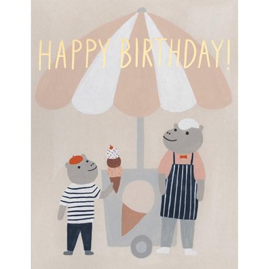 Vevoke Foil Card Ice Cream Hippos