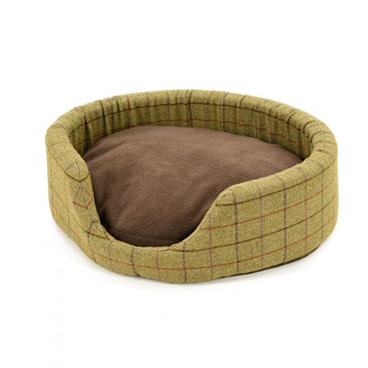Tweedmill Tweed Oval Dog Bed With Removable Fleece Cushion Small