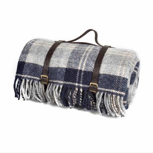 Tweedmill Cottage Bannockbane/Navy Leather Strap Picnic Rug