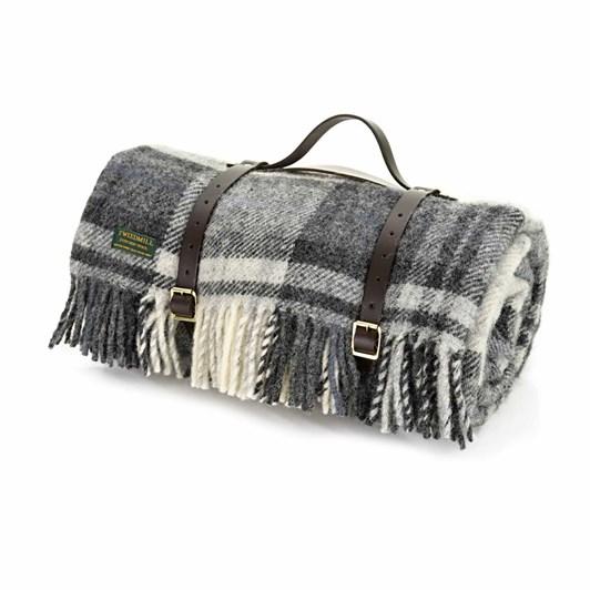 Tweedmill Grey/Black Leather Strap Picnic Rug