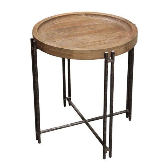 Roccoco Side Table Elm Iron