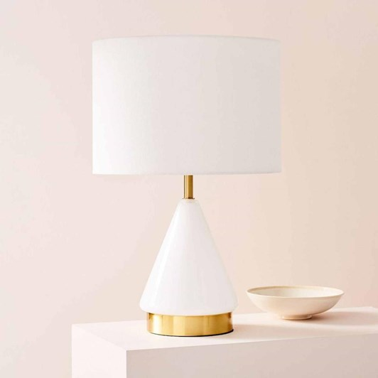 West Elm Metalised Glass Table Lamp + USB - Small