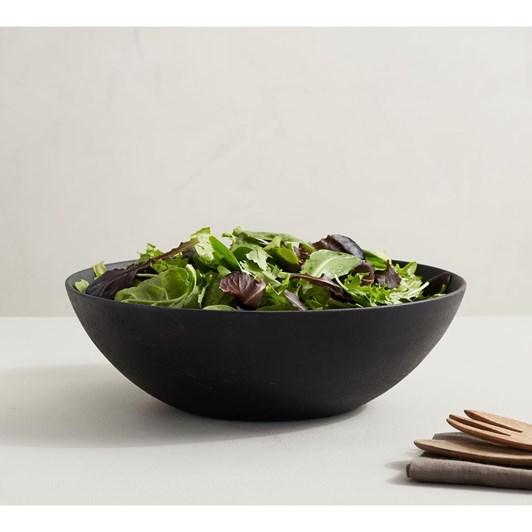Pottery Barn Chateau Wood Salad Bowl Black
