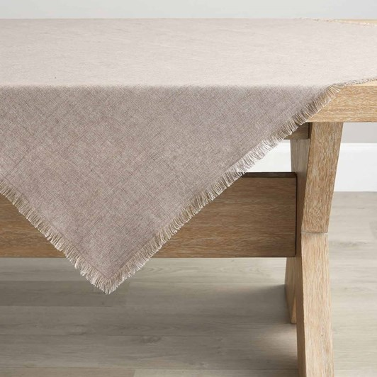 Pottery Barn Frayed Linen Table Throw Flax