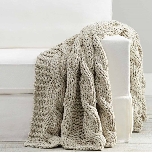 Pottery Barn Heather Colossal Handknit Throw 44x56 Inch