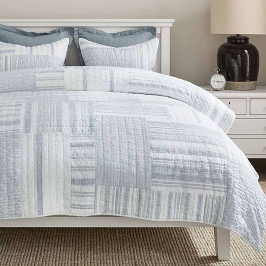 Pottery Barn Hawthorn Patchwork Pillowcase Chambray